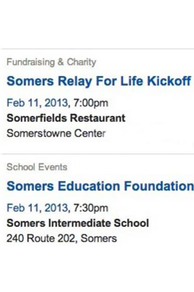 Add your event to The Somers Daily Voice calendar.