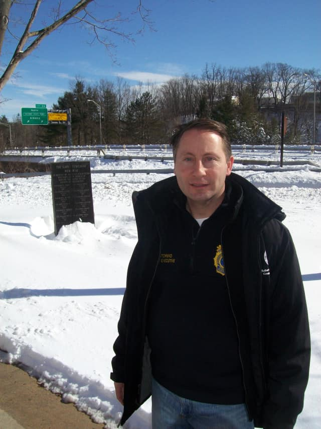 Westchester County Executive Robert Astorino at Westchester Police Headquarters in Valhalla on Saturday afternoon following the storm.