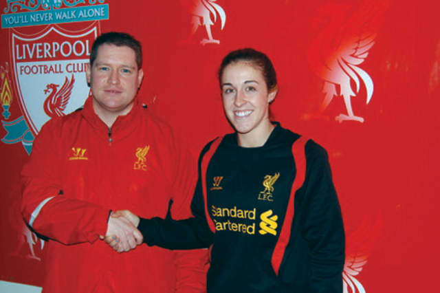 Somers' Amanda DaCosta, pictured with head coach Matt Beard, will play soccer for the Liverpool Ladies.
