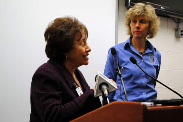 Rep. Nita Lowey (D-Harrison), left,  and Chairperson of the Nuclear Regulatory Commission, Allison Macfarlane, toured the Indian Point plants on Monday.