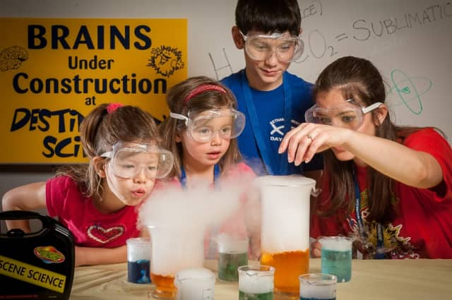 Scarsdale children can participate in a science camp for four weeks.