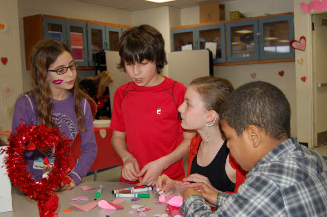 Students from H.C. Crittenden Middle School and the Greenburgh 11 School District made Valentines together Feb. 6.