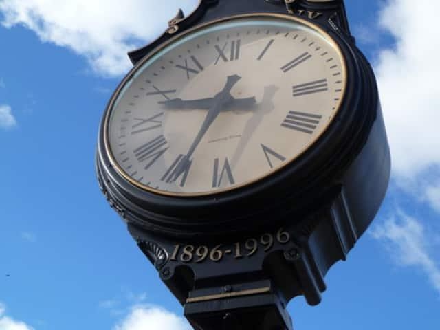 The village clock in Ardsley Square.