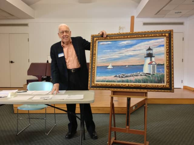 """Billionaire Point"" is the title of a painting displayed by artist Keith Brooks, the organizer of Occupy Weston. The group met Saturday at the Weston Public Library."