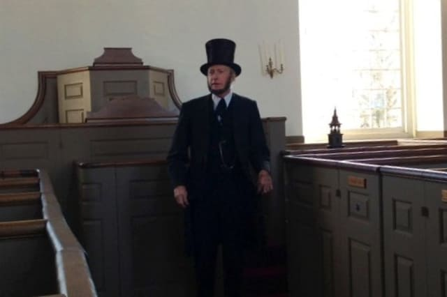 Phil Jessen portrays Abraham Lincoln at St. Paul's Episcopal Church.