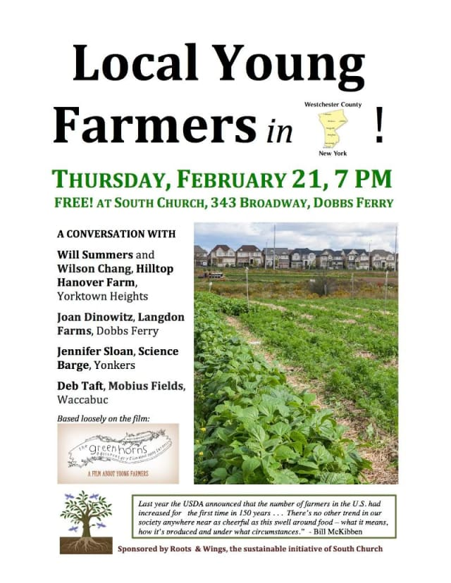 Dobbs Ferry's South Church will host  an event for young farmers Thursday.