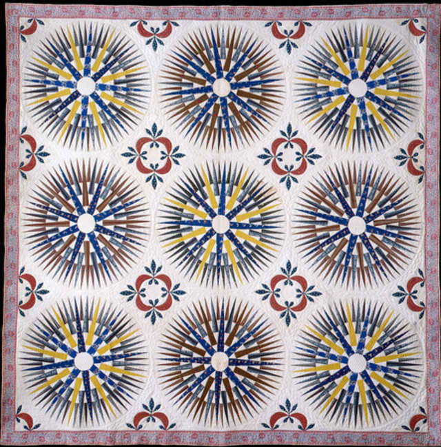 """The Katonah Museum of Art's American quilt exhibit """"Beyond the Bed"""" opens Sunday. Pictured: Mariner's Compass Quilt, Emeline Barker"""