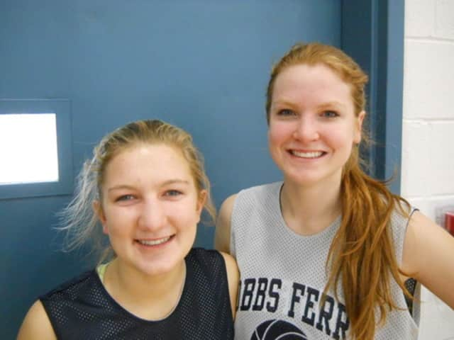 Seniors Kristine Foresti, left, and Kristy Degener lead the Dobbs Ferry girls basketball team into the Section 1 Class B final four at the Westchester County Center.