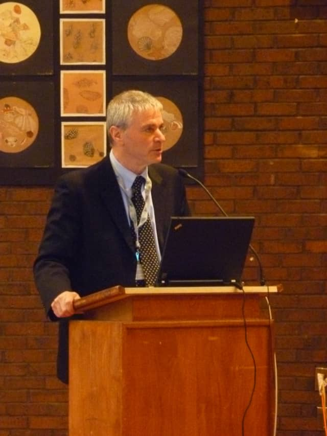 Superintendent Jere Hochman presents revised capital spending plan to Bedford Central School District board members  Wednesday.