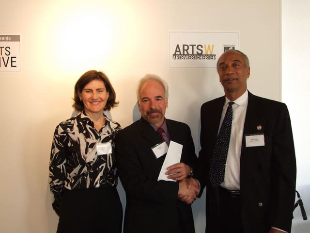 Lisa Robb, executive director, NYS Council on the Arts (left); John Rizzo, artist grantee; state Assemblyman Gary Pretlow,  at the Arts Alive Awards Breakfast
