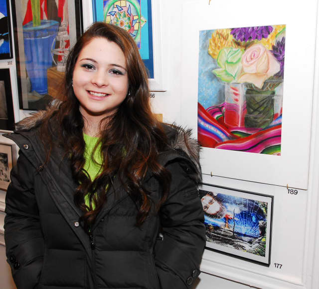 Isabella Roca, a Port Chester High School sophomore, received honorable mention for her artwork and was selected to display it at Pace University's Choate House Gallery.