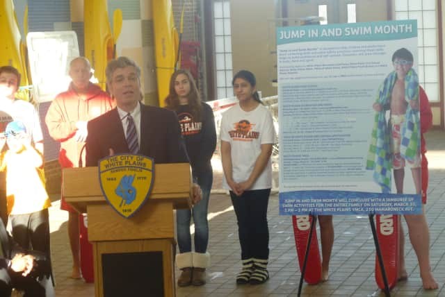 White Plains Mayor Thomas Roach spearheaded the swimming initiative that was discussed Monday at White Plains High School.