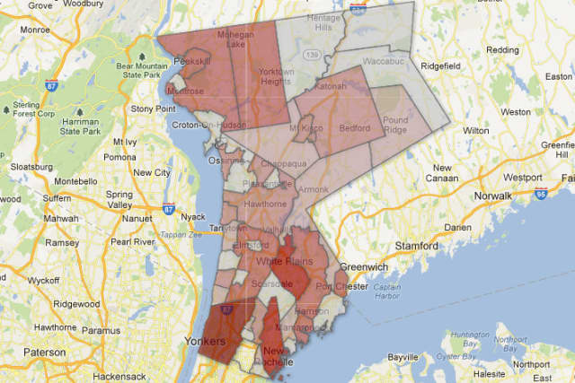 This map illustrates the number of domestic incidents reports per capita by municipality in Westchester County.The redder the area, the more incident reports per capita.
