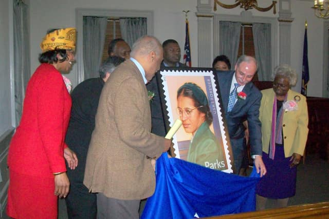 Mount Vernon officials unveiled a new stamp commemorating Rosa Parks on Wednesday.