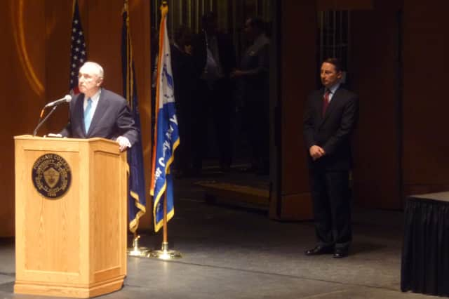Former New York City Police Commissioner William Bratton was the keynote speaker Wednesday at the Westchester County School Safety Symposium held at the Performing Arts Center at Purchase College, SUNY.