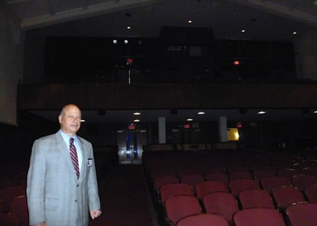 John Kehoe, assistant superintendent of the Bronxville school district, stands in the Bronxville School's auditorium, which is to be renovated. The entire balcony behind him has been closed for the past year because of safety concerns.