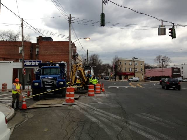 The intersection of Waverly and Mamaroneck avenues is blocked because of repairs to a water main.