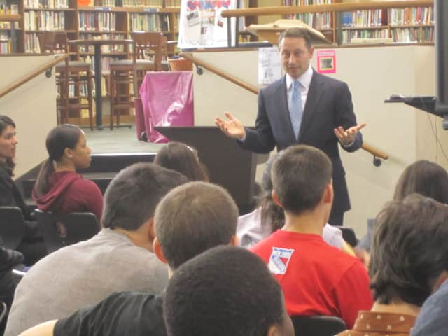 Westchester County Executive Rob Astorino, seen here speaking at Ossining High School, is set to make an appearance at the Town of Ossining's Town Hall meeting Tuesday.