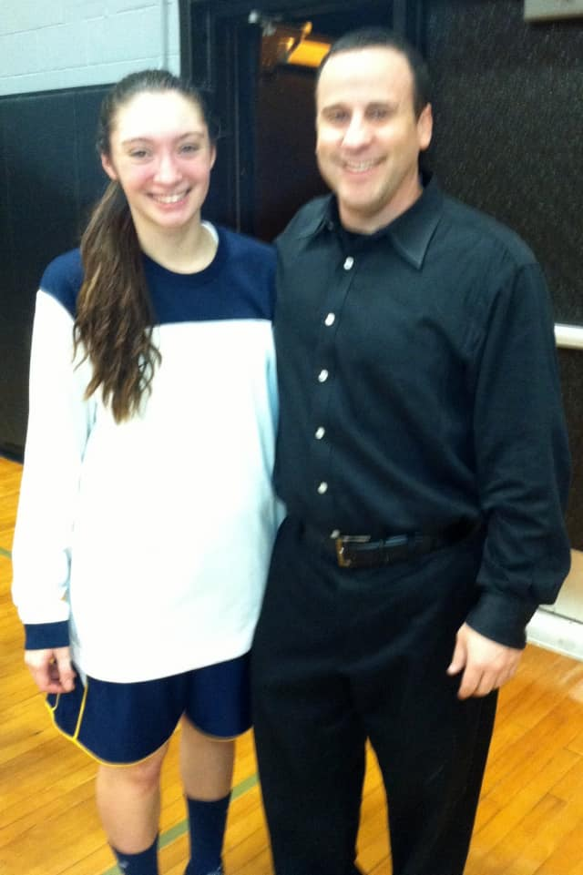 Pelham Memorial High School girls basketball player Vittoria Volpe, seen here with coach Timothy Pitrulle, is The Pelham Daily Voice Athlete of the Month for February.