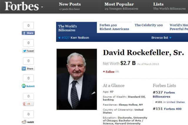 Pocantico Hills resident David Rockefeller Sr. has made the 2013 Forbes Billionaires list.