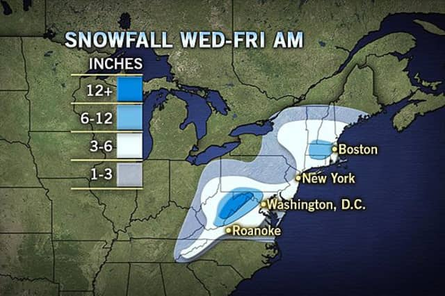 Four to eight inches of snow is being predicted for most areas in northern Westchester.
