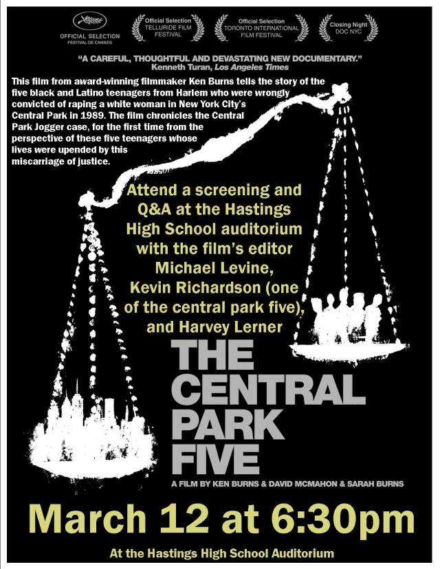 """Friends of Hastings Library To Screen """"The Central Park Five."""""""