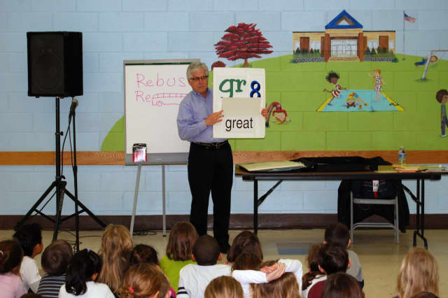 Author David Adler visits North Salem PQ first-graders on Monday.