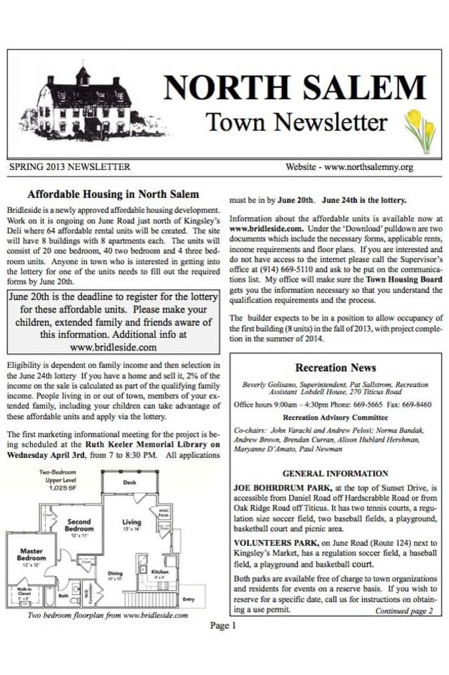 The Spring 2013 North Salem Town Newsletter is now available.