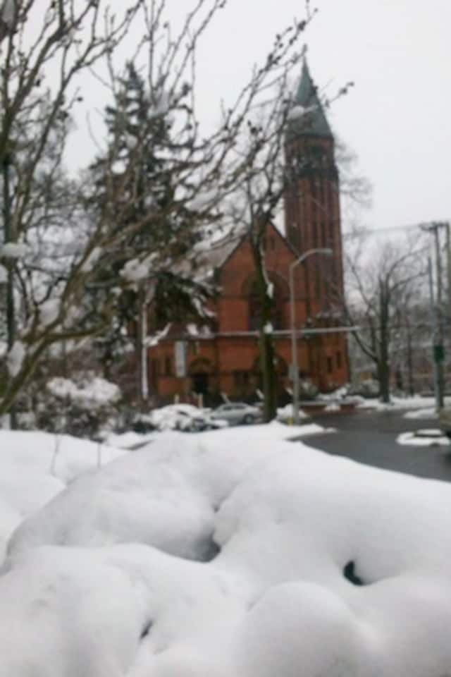 Our Lady of Mercy Catholic Church, as seen from the Port Chester Library, after Friday's snowfall.