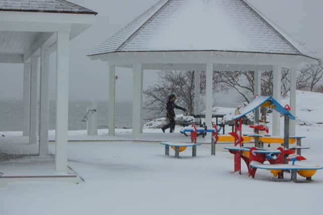 Weed Beach in Darien is blanketed in snow by a previous blizzard.