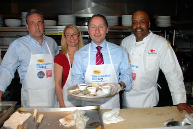 Jim Sullivan, owner of Morgan's Fish House in Rye, Lisa McKiernan, co-owner of Morgan's Fish House, County Executive Rob Astorino and Chef Greg McDowell.