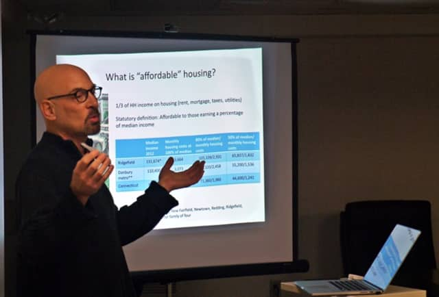 Dave Goldenberg, a member of the Ridgefield Affordable Housing Authority, gave a presentation about what affordable housing is and how it affects Ridgefield at a forum hosted by the League of Women Voters.