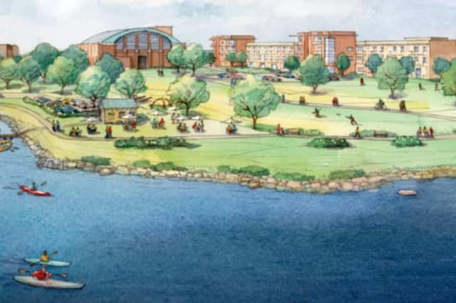 This rendering shows the proposed Echo Bay Waterfront Project in New Rochelle.