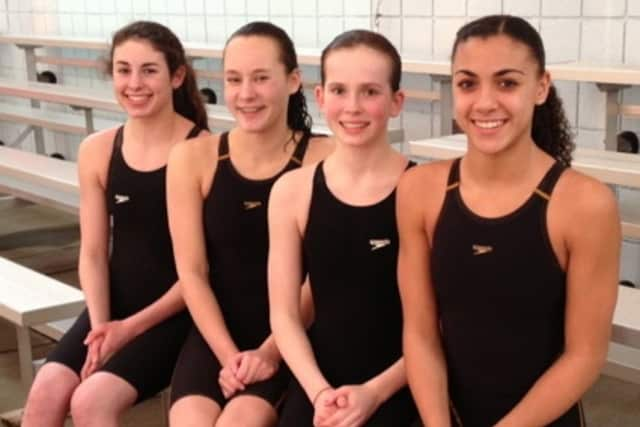 The Wilton Wahoos relay team of Emma Holmquist, Kirsten Daly, Elizabeth Sargent and Ky-Lee Perry set a state record in last week's Age Group championships.