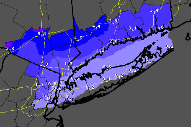 Three to six inches of snow could be on the ground by Tuesday in Ridgefield, Danbury, Wilton, Weston, Easton and Redding.