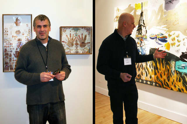The work of Michael Mapes (left) and Tom Christopher (right) is on exhibit at Croton Falls' Schoolhouse Theater until the end of March.