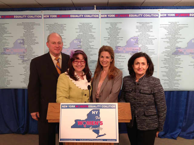 From left: Mark Jaffe, President of the Greater New York Chamber of Commerce; CarlLa Horton of Hope's Door; Michelle Caiola of Legal Momentum, and Beverly Cooper Neufeld; President of Equal Pay Coalition of New York.