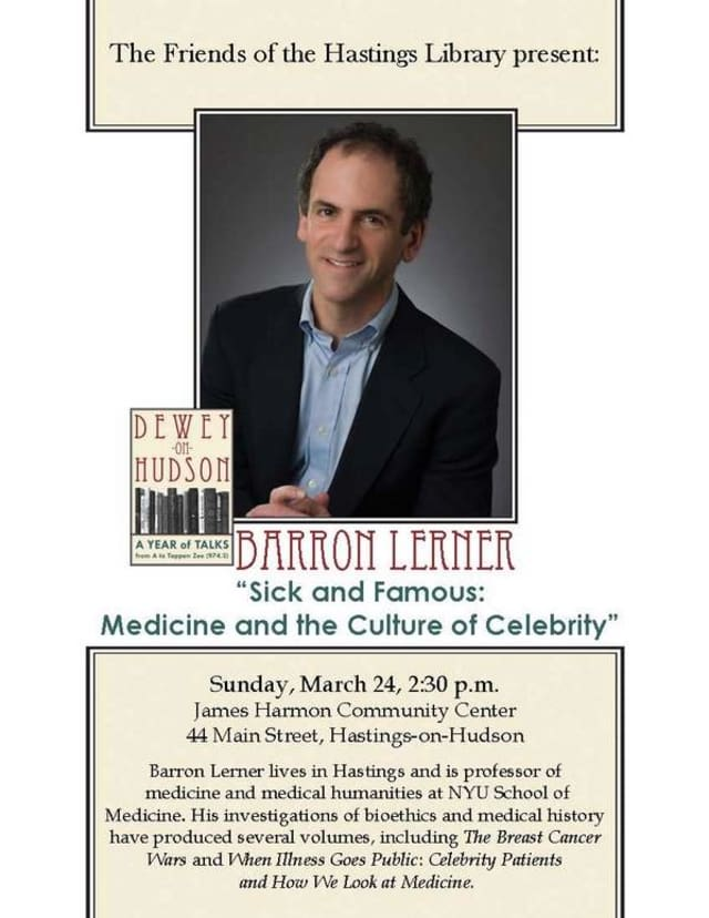 Hastings Barron Lerner will give a talk at the Hastings Library Sunday.