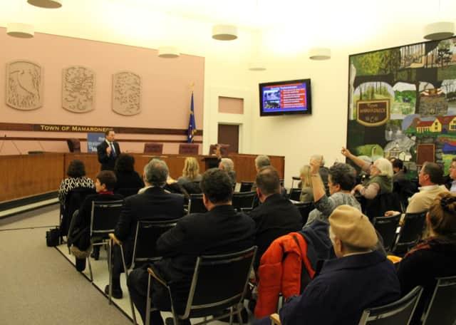 Robert Astorino speaks to Mamaroneck residents Tuesday evening.