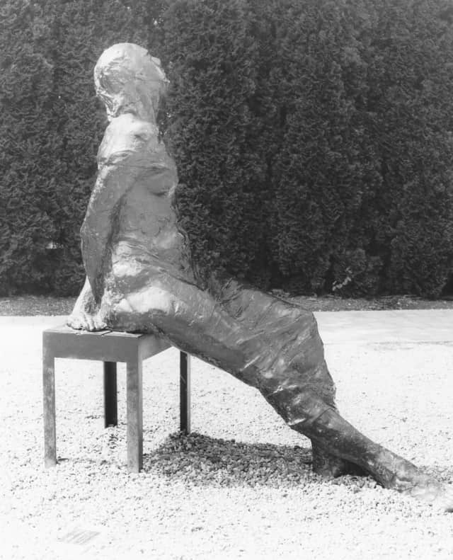 """This sculpture, titled """"Woman in the Sun Seated"""" by artist Leonda Froehlich Finke is one of the pieces to be featured throughout the village of Ossining."""