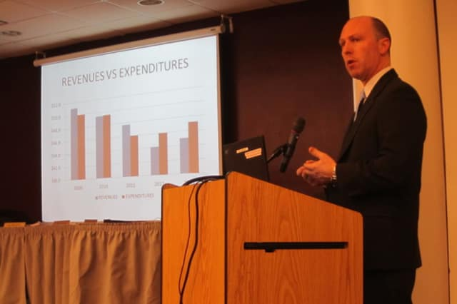 Briarcliff school district Assistant Superintendent Stuart Mattey discussed the districts revenues and expenditures.