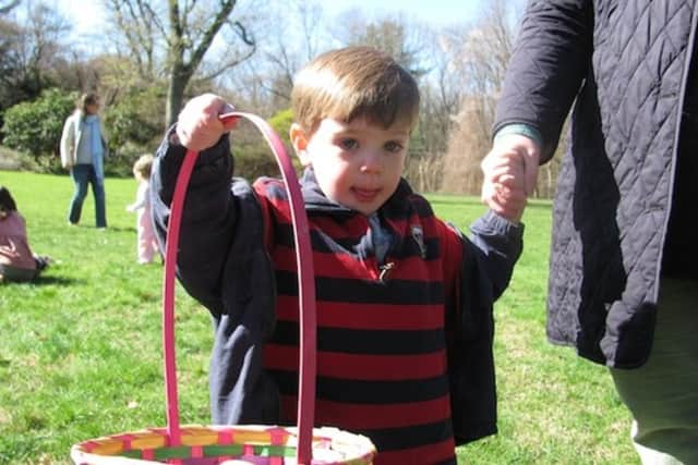 Darien resident Cavin Kennedy enjoying the Darien Community Association's annual Easter Egg Hunt last year.