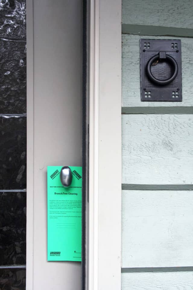 Many NYSEG customers in North Salem, Lewisboro and Pound Ridge will receive green cards on their doors alerting them of tree trimming.