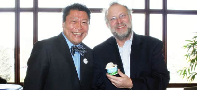 State Rep. Tony Hwang, a Republican from Fairfield, enjoys a sample of Cherry Garcia ice cream with Jerry Greenfield of Ben & Jerry's.