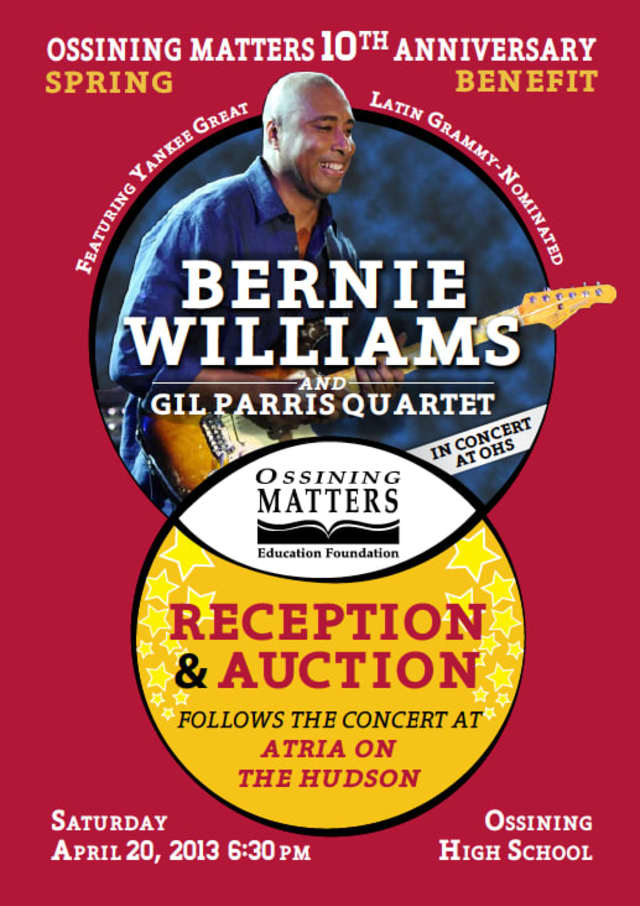 Bernie Williams will perform in Ossining on April 20.