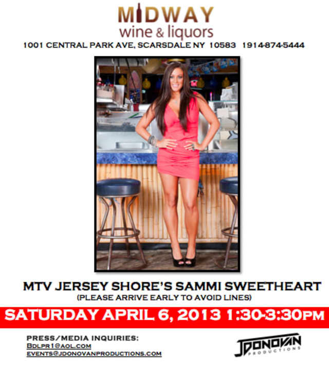 MTV's  Sammi Sweatheart will be at Midway Wine and Liquors Saturday.