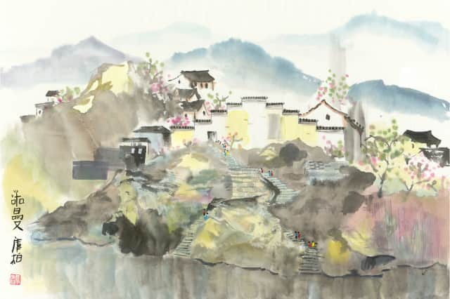 Chinese brush paintings are among the opening exhibits at North Salem's Hammond Museum. Pictured: Walled City by Norman Cooper.