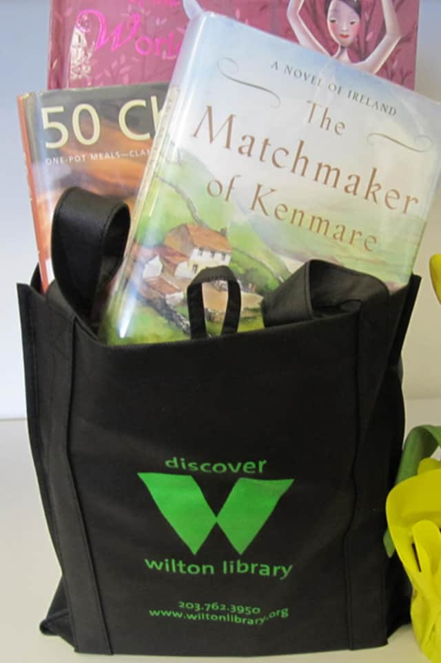 Next Friday, Wilton Library patrons who borrow 10 or more items will received a free Wilton Library logo reusable shopping bag, as part of National Library Week.