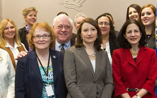 Wilton, Westport and Norwalk state Rep. Gail Lavielle (front, right) met with other co-sponsors of a bill that would impose stronger penalties on people who engage in human trafficking.