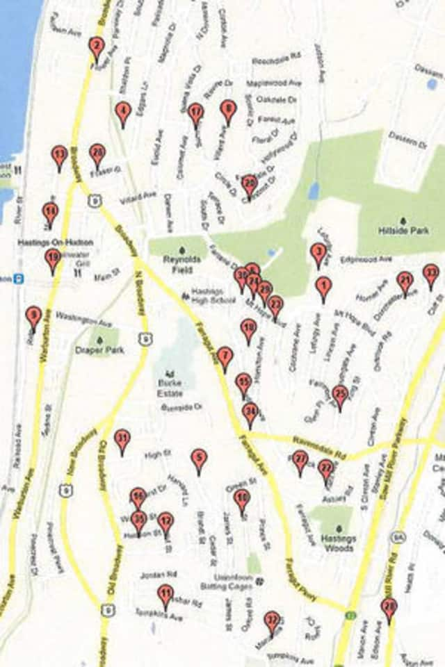 Maps (this is last year's) for Saturday's Hastings V Village Wide tag sale are available online or in person at the James Harmon Community Center.